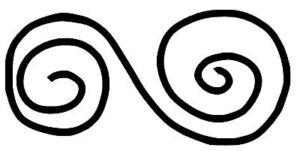 Ornament gezeichnet, zwei Schnecken, die miteinander verbunden sind